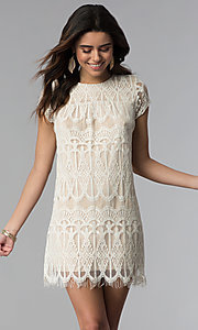 Image of short-sleeve lace shift party dress. Style: SS-JA28172H63 Front Image