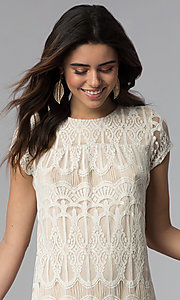 Image of short-sleeve lace shift party dress. Style: SS-JA28172H63 Detail Image 1