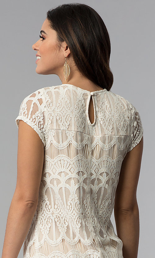 Image of short-sleeve lace shift party dress. Style: SS-JA28172H63 Detail Image 2