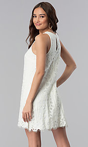 Image of short ivory white lace shift graduation party dress. Style: SS-JA28492H543 Back Image