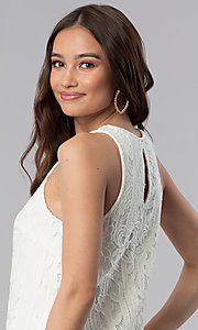 Image of short ivory white lace shift graduation party dress. Style: SS-JA28492H543 Detail Image 2