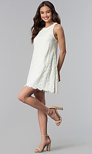 Image of short ivory white lace shift graduation party dress. Style: SS-JA28492H543 Detail Image 3