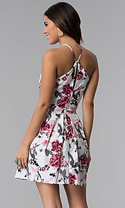 Image of short high-triangle-neck floral-print party dress. Style: SS-D71451SD2 Back Image