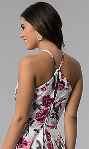 Image of short high-triangle-neck floral-print party dress. Style: SS-D71451SD2 Detail Image 2