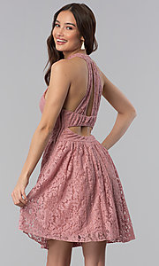 Image of dark rose short a-line casual lace party dress. Style: SS-D68901HGM Back Image