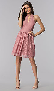Image of dark rose short a-line casual lace party dress. Style: SS-D68901HGM Detail Image 3