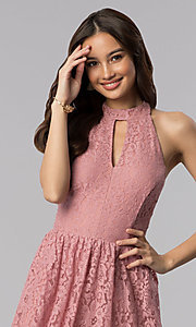 Image of dark rose short a-line casual lace party dress. Style: SS-D68901HGM Detail Image 1