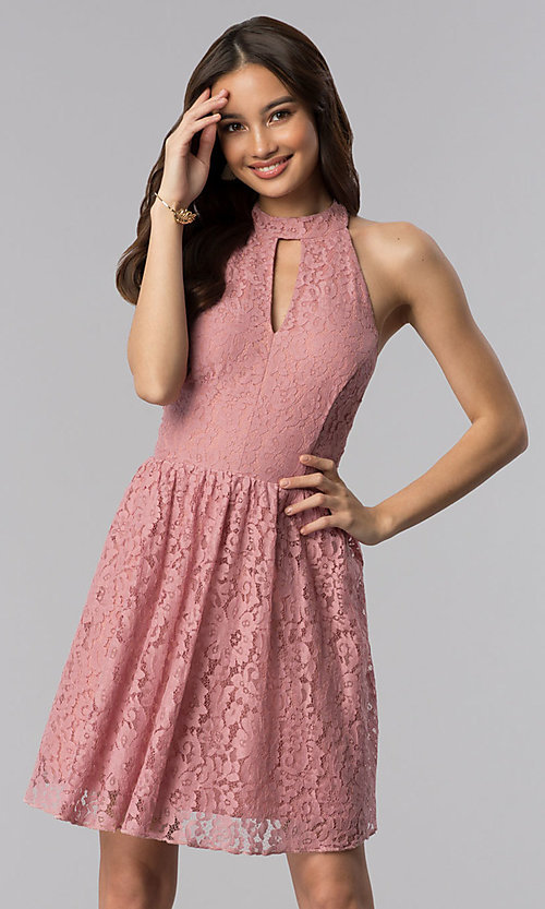 Short A-Line Casual Party Lace Pink Dress - PromGirl