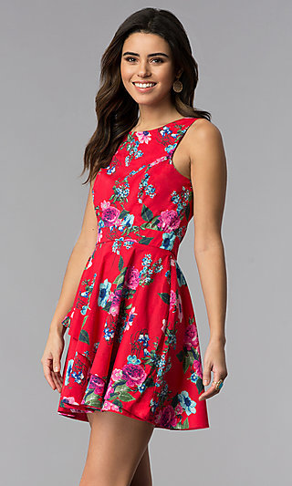 f70c9bcf9d16 Short Floral-Print Sleeveless Casual Party Dress