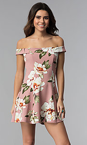 Image of floral-print off-shoulder short mauve party dress. Style: SS-D71121DFZ Front Image