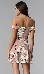 Image of floral-print off-shoulder short mauve party dress. Style: SS-D71121DFZ Back Image