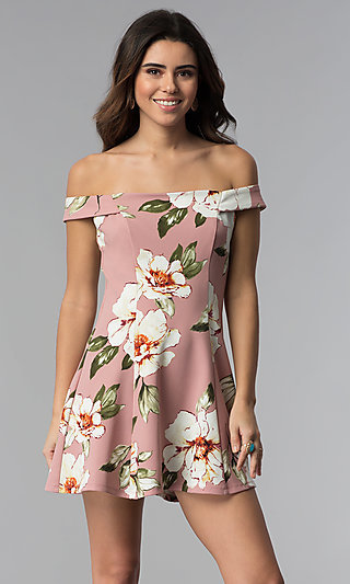 Floral-Print Off-Shoulder Short Mauve Party Dress