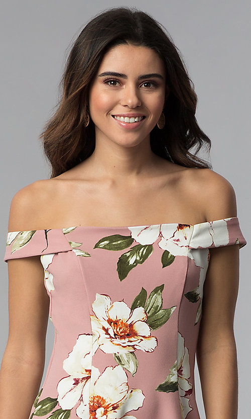 Image of floral-print off-shoulder short mauve party dress. Style: SS-D71121DFZ Detail Image 1