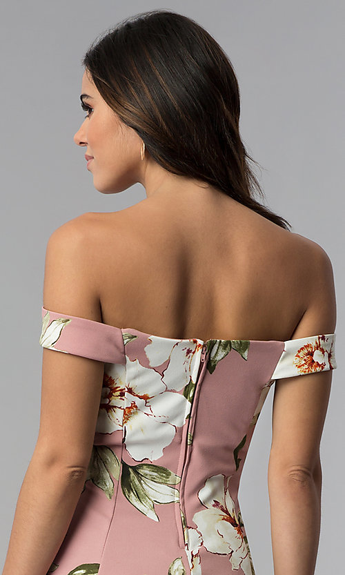 Image of floral-print off-shoulder short mauve party dress. Style: SS-D71121DFZ Detail Image 2