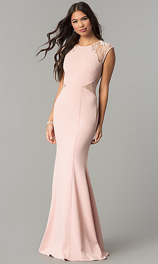 Long Cap-Sleeve Formal Prom Dress at PromGirl