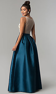 Image of long teal blue satin formal prom dress by PromGirl. Style: SOI-PL-M17178 Back Image