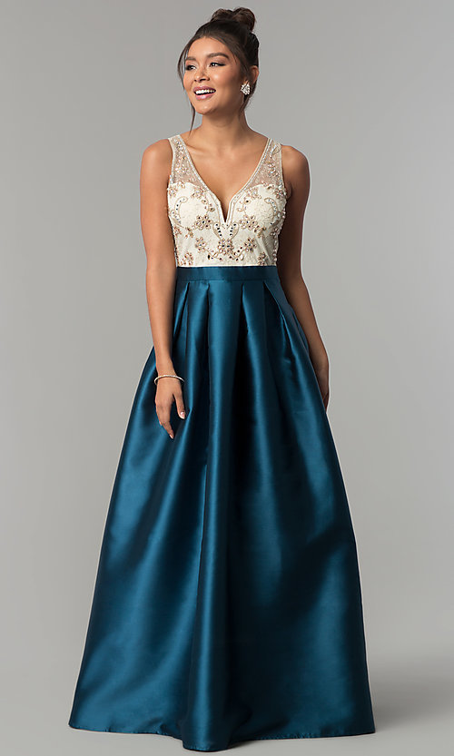 Image of long teal blue satin formal prom dress by PromGirl. Style: SOI-PL-M17178 Front Image