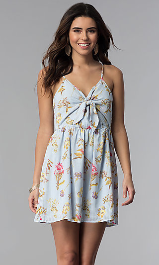 Short Floral-Print Casual Dress with Knotted Bodice