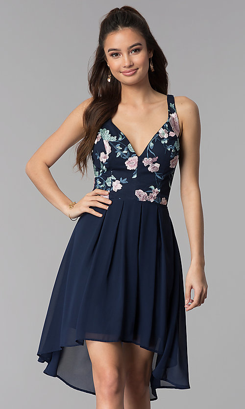 Image of navy blue high-low party dress with embroidery. Style: MY-9961HC1C Front Image