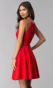 Image of short red party dress with illusion waist. Style: DMO-J321417 Back Image