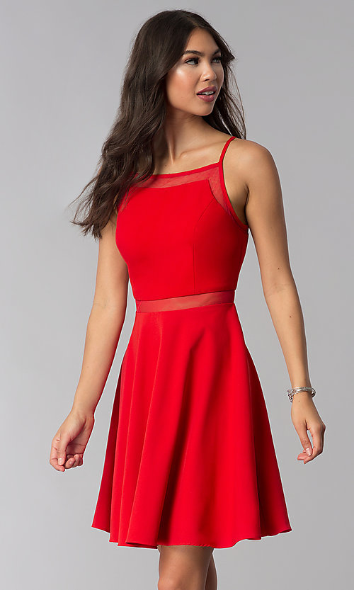 Image of short red party dress with illusion waist. Style: DMO-J321417 Front Image