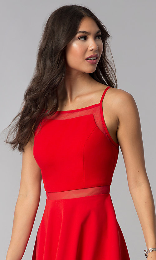 Image of short red party dress with illusion waist. Style: DMO-J321417 Detail Image 1