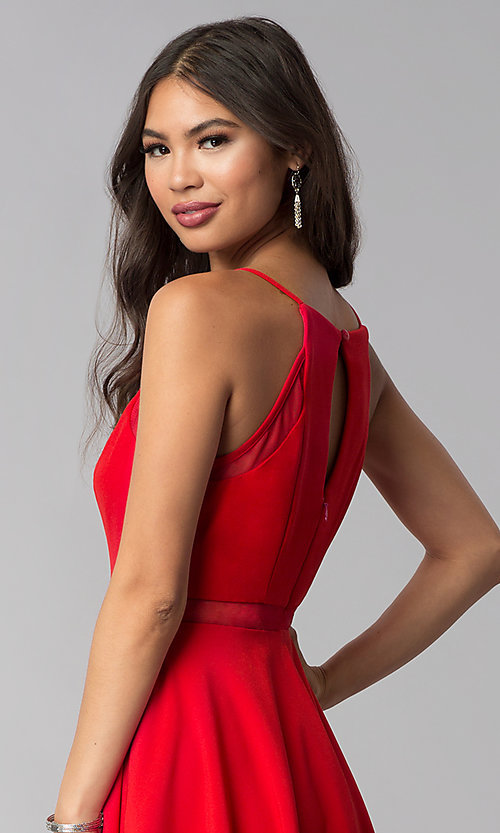 Image of short red party dress with illusion waist. Style: DMO-J321417 Detail Image 2