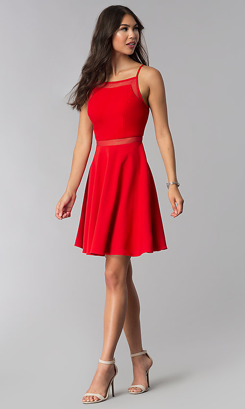 Image of short red party dress with illusion waist. Style: DMO-J321417 Detail Image 3