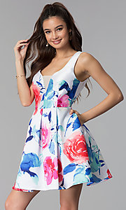 Image of short floral-print v-neck sleeveless party dress. Style: DMO-J321577 Front Image