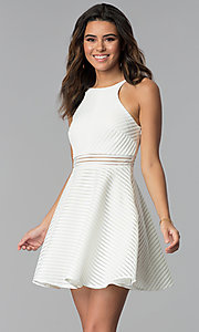 Image of short white grad dress with sheer waist. Style: DMO-J321007 Front Image