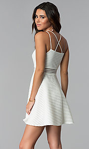 Image of short white grad dress with sheer waist. Style: DMO-J321007 Back Image