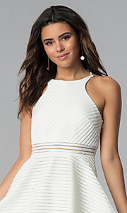Image of short white grad dress with sheer waist. Style: DMO-J321007 Detail Image 1