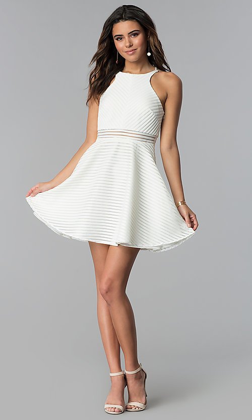 Image of short white grad dress with sheer waist. Style: DMO-J321007 Detail Image 3