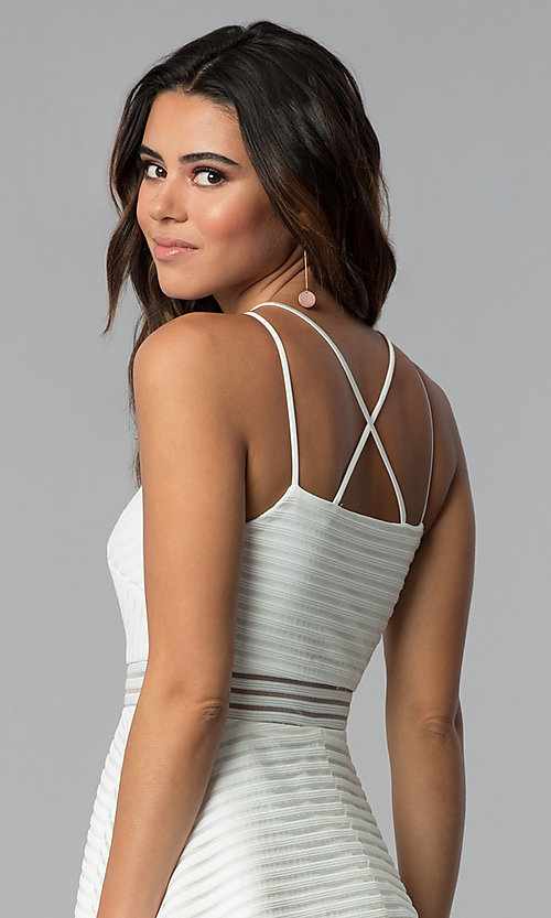 Image of short white grad dress with sheer waist. Style: DMO-J321007 Detail Image 2