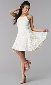 Image of short a-line lace graduation party dress. Style: DMO-J320507 Detail Image 2