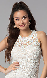 Image of ivory empire-waist short lace graduation party dress. Style: MY-2129ZY1C Detail Image 1