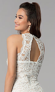 Image of ivory empire-waist short lace graduation party dress. Style: MY-2129ZY1C Detail Image 2