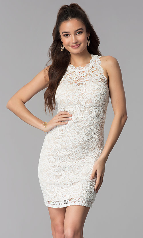 Image of ivory empire-waist short lace graduation party dress. Style: MY-2129ZY1C Front Image