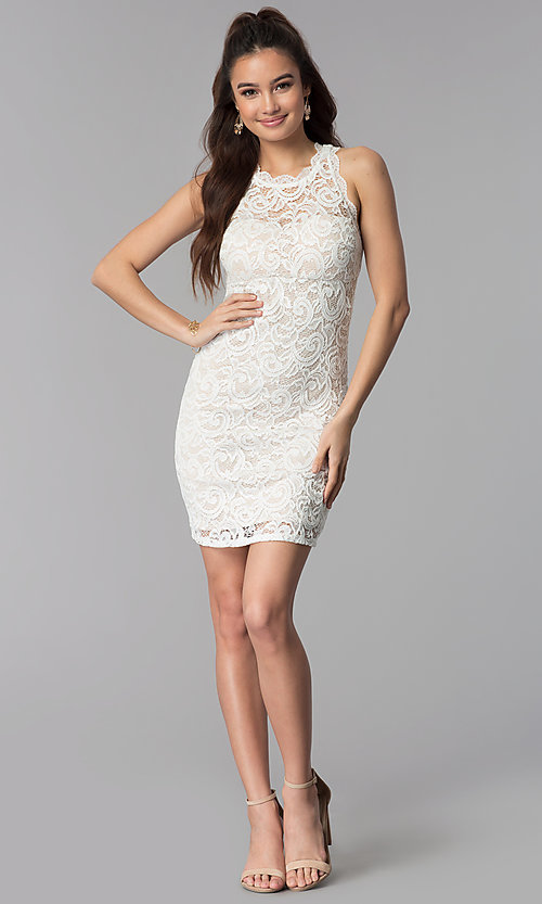 Image of ivory empire-waist short lace graduation party dress. Style: MY-2129ZY1C Detail Image 3