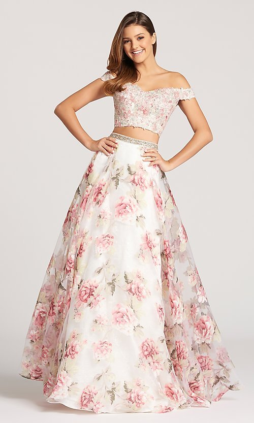 676151d22a Two-Piece Off-the-Shoulder Ellie Wilde Prom Dress