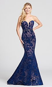 Navy Blue and Nude Velvet Prom Dress