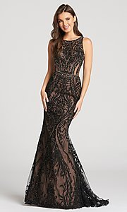 Black and Nude Long Lace Prom Dress