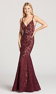 Wine Red and Nude Lace Prom Dress