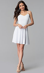 Image of caged-back short white graduation party dress. Style: CH-2790W Detail Image 3
