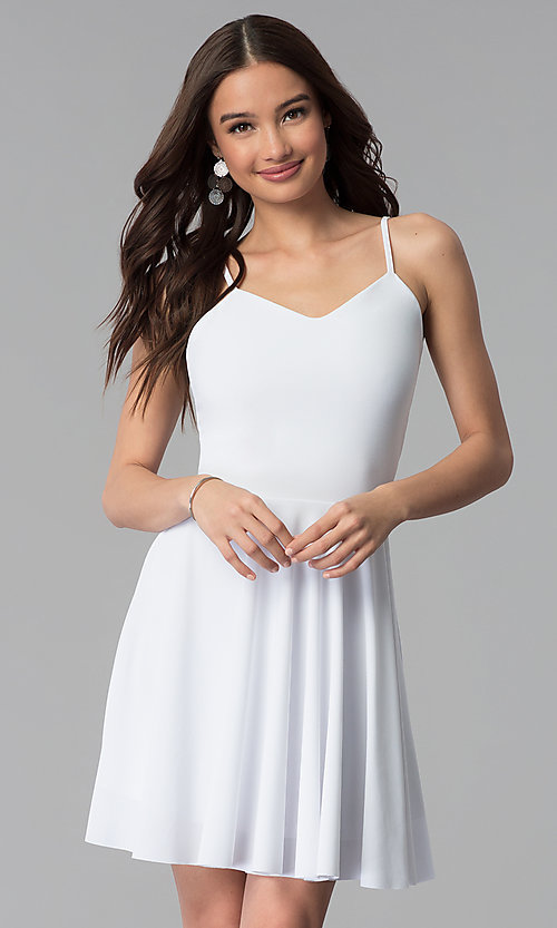 Image of caged-back short white graduation party dress. Style: CH-2790W Front Image