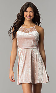 Short Mauve Pink Velvet Party Dress with Lace