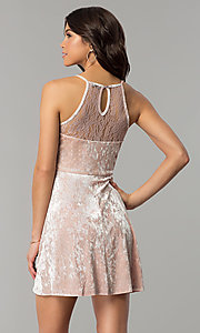 Image of short mauve pink velvet party dress with lace. Style: AS-A7616449 Back Image
