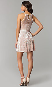 Image of short mauve pink velvet party dress with lace. Style: AS-A7616449 Detail Image 3