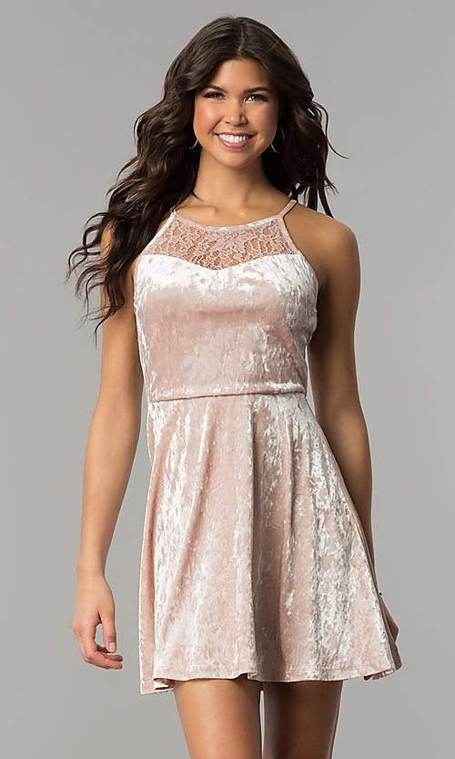 Image of short mauve pink velvet party dress with lace. Style: AS-A7616449 Front Image