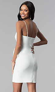 Image of short v-neck wrap white graduation dress. Style: BLU-BD8615-1W Back Image
